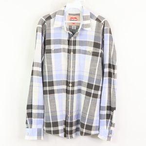 Vtg Carhartt Mens Medium Heart Logo Plaid Shirt
